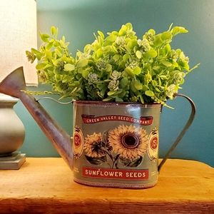 🆕️ Sunflower Watering Can with Greens Decor